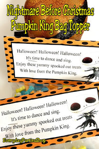 Pumpkin King Halloween Bag Topper Printable