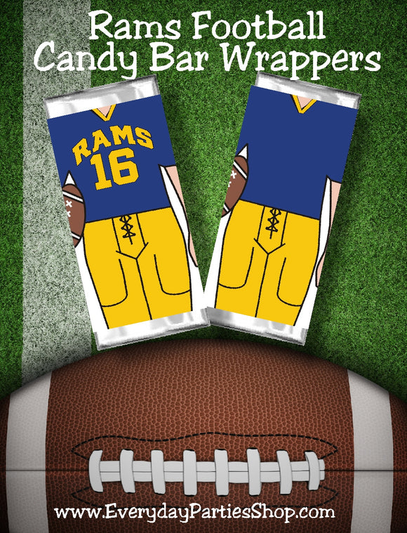 Cheer your favorite football team all the way to the big game with these printable candy bar wrappers. Candy bar wrappers comes with the Los Angeles Rams jersey colors and can cheer