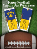 "Cheer your favorite football team all the way to the big game with these printable candy bar wrappers. Candy bar wrappers comes with the Los Angeles Rams jersey colors and can cheer ""Go Rams"" or any other cheer you need. #ramsfootball #NFLRams #footballparty #superbowl"