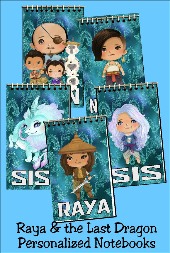 Bring a little magic and friendship to your birthday party with these personalized notebooks that make great party favors for all your guests.  Notebooks feature Raya and the Last Dragon characters on a magical blue/green background with party guests' names.