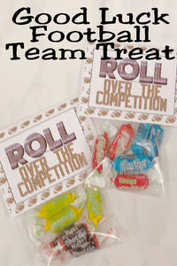 Help your football team roll over the competition with this team treat bag topper. This is such a fun way to wish the whole team good luck in their next game as a football mom, a team manager, or as a booster club.