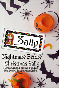 This is so cool. What a great party favor or birthday gift this would make. Jack Skellington and Sally have a place in my heart, now I need to make a spot in my office or room with this Sally personalized name plaque I can put my own name on.