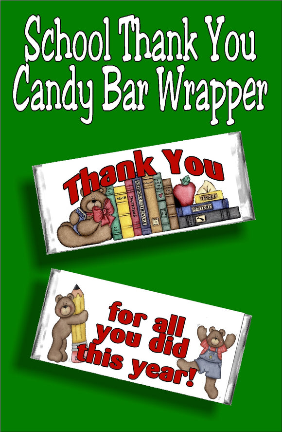 Thank you...for all you did this year!  Whether you give this to your favorite teacher, a parent volunteer, or your students, your thank you will be remembered and appreciated for all the hard work put in this year with this candy bar wrapper thank you gift.  #thankyou #teachergift #schoolgift #volunteergift #teacherappreciation #candybarwrapper