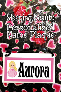 Bring your love of Sleeping Beauty home with a personalize name plaque featuring Princess Aurora.  Add your name to this name tile for the perfect addition to your princess room decor, wall hanging, or kids room.