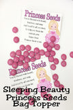 Sweet, beautiful Princess Aurora is the perfect addition to your Disney princess party with these fun Princess Seeds. This printable bag topper can be combined with pink M&Ms or any other of your princess' favorite candy for the perfect princess party favor. #princessparty #disneyprincessparty #princessaurora #bagtopperprintable #partyfavor