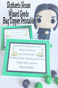 Show your house pride with these Slytherin house Wizard Seeds. These printable bag toppers are perfect for a Harry Potter party and are a unique and fun party favor.