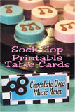 These easy printable table cards are perfect for your 1950s party or your Sock Hop party. So easy to print and add to your party decorations or use as a name card or for your dessert table.