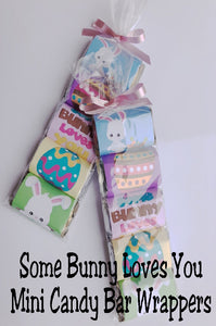 "I love these mini candy bar wrappers! They make such perfect Easter party favors for a friend or an Easter basket. I love the saying that reads ""Some Bunny Loves You"" and the cute Easter bunnies and eggs on the candy bar wrappers."
