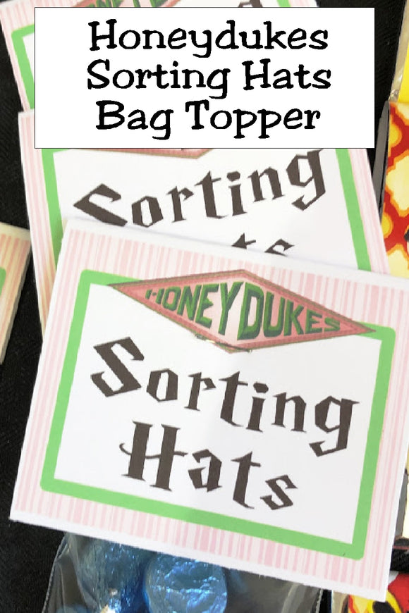Bring a bit of Honeydukes candy store to your Harry Potter party with this printable bag topper. Simply add some chocolate kisses and give a candy treat as your party favor or on your dessert table at your Harry Potter party.