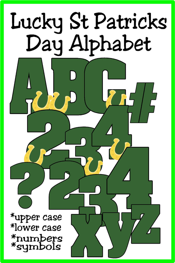 Decorate your St Patrick's day invites, scrapbook papers, and parties using this Lucky St Patrick's day alphabet.