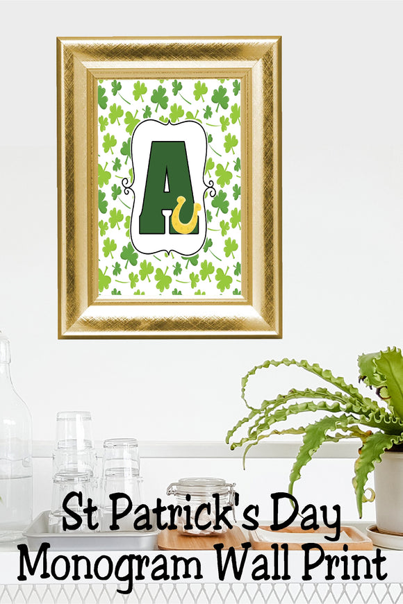 Lucky St Patrick's Day Monogram A