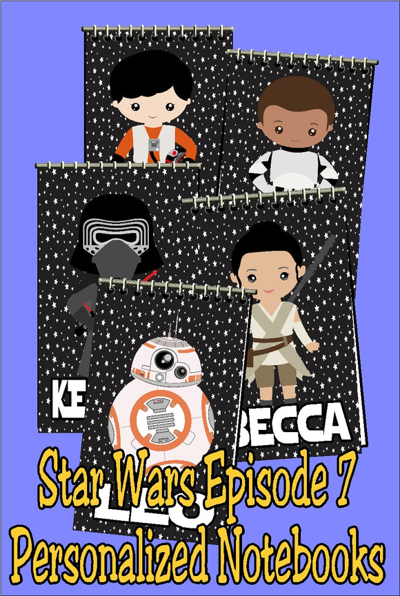 Add some personalized fun to your Star Wars party favor bags with these Star Wars notebooks customized with your guests' names.  Featuring your favorite characters from Star Wars episode 7, Rey, Finn, Kylo, Po, and BB-8 will have your guests thrilled when they go home with these party favors.