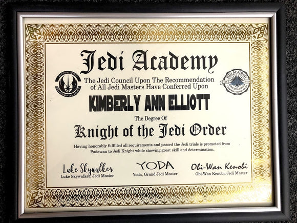 Star Wars Jedi Knight Certificate DIY Printable Download