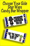 Choose Your Side Star Wars Candy Bar Wrapper