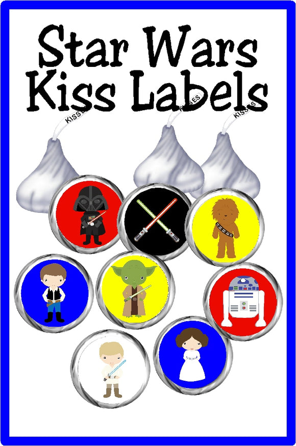 Bring Luke, Leah, and the whole gang to your Star Wars party with these fun Star Wars printable kiss labels. Featuring the original characters from Star Wars episodes 3-5, you will love going retro at your party.
