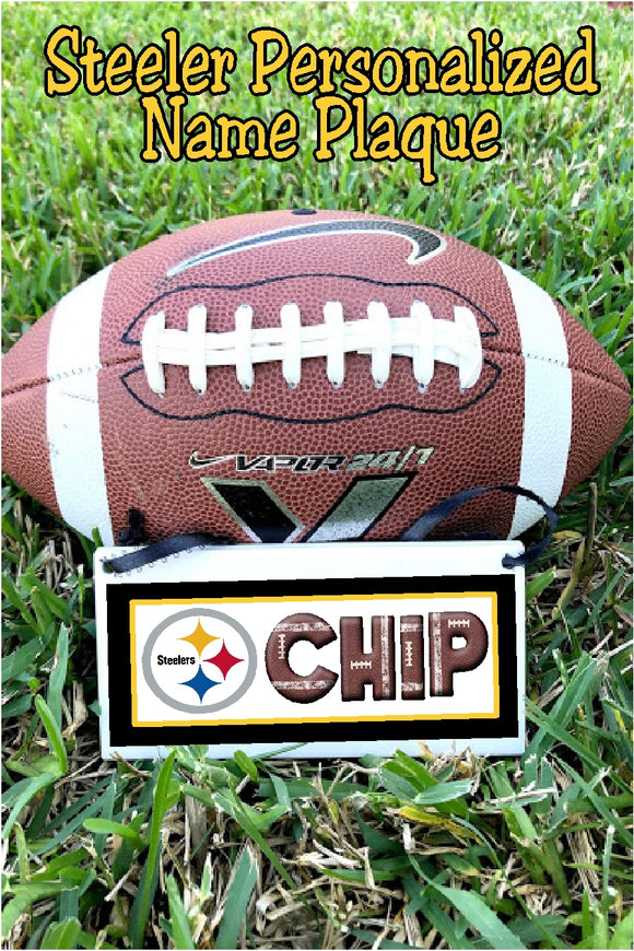 Celebrate your school or team with this personalized steelers mascot personalized name plaque.  Name plaque is a perfect graduation gift or senior gift for anyone on your team or in your class.