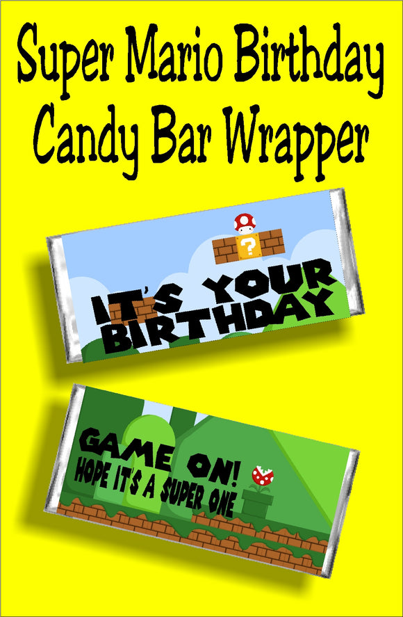 Make it a super birthday with this Super Mario Birthday candy bar wrapper. Give this wrapper as a birthday card or as a gift at a Mario party.