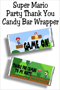 Super Mario Party Thank You Candy Bar Wrapper