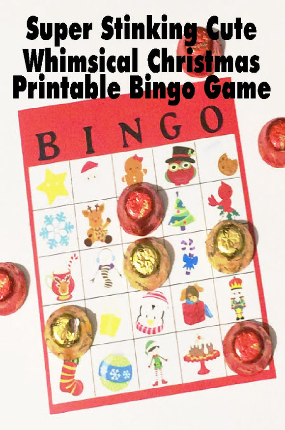 Add a touch of whimsy to your Christmas party with these super cute Christmas bingo game cards. The fun little pieces of Christmas will have all your party guests excited to play and have fun.