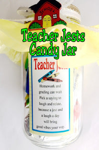 Say Thank you to your favorite teacher as a Christmas gift or for Teacher appreciation week with this Teacher Jests Chocolate Candy Jar