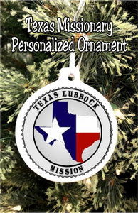 "Have your son or daughter how ""with you"" this Christmas while you  celebrate their service in the mission field with this personalized Texaso mission Christmas ornament.  #texasmissionary #ldsmissionary #missionarychristmasornament"