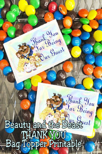 Thank your guests at your Beauty and the beast party with this fun Thank you bag topper printable