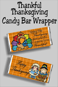 Wish your friends and family a Happy Thanksgiving with this beautiful printable Thanksgiving candy bar wrapper that is the perfect Thanksgiving card and gift in one. Place this candy bar on your Thanksgiving dinner table as a Thanksgiving decoration and party favor that your guests will not want to eat but enjoy. #thanksgivingpartyfavor #thanksgivingcard #thanksgivingdinner #thanksgivingcandybarwrapper