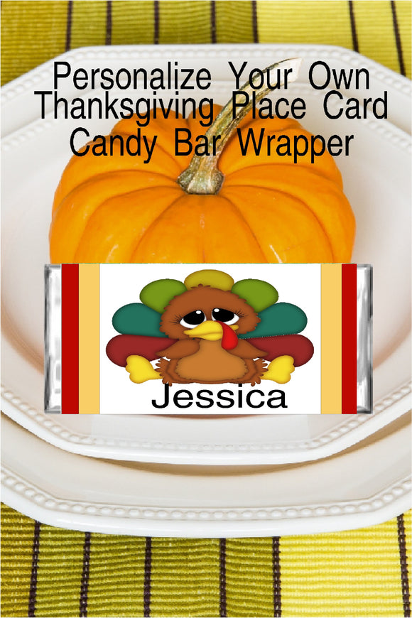 Thanksgiving Turkey Place Card Candy Bar Wrapper Printable
