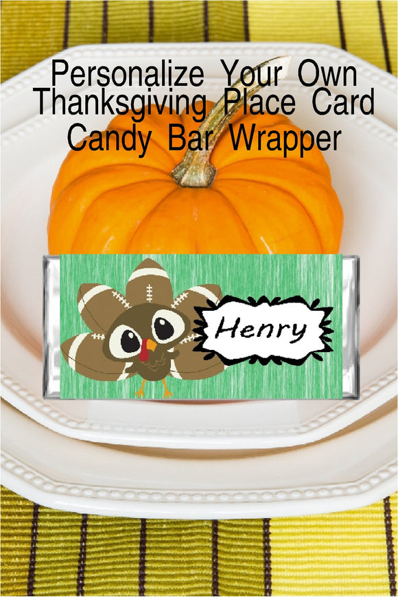 You worked hard on your Thanksgiving dinner and your dinner table decor, don't slack on the place settings. Make your thanksgiving dinner place setting extra special for your guests by directing them where to sit with candy bar place cards that you can customize and print yourself.