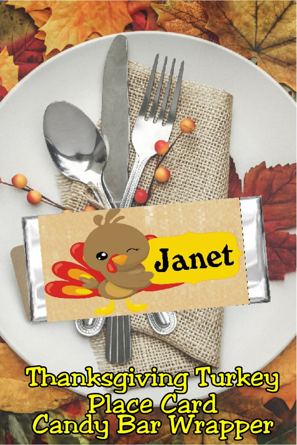Winking Turkey Thanksgiving Place Card Candy Bar Wrapper