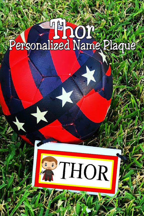Share your love for your favorite superhero with this Thor personalized name plaque perfect for your home decor or office.  #thorgift #thorfan #avengesthor
