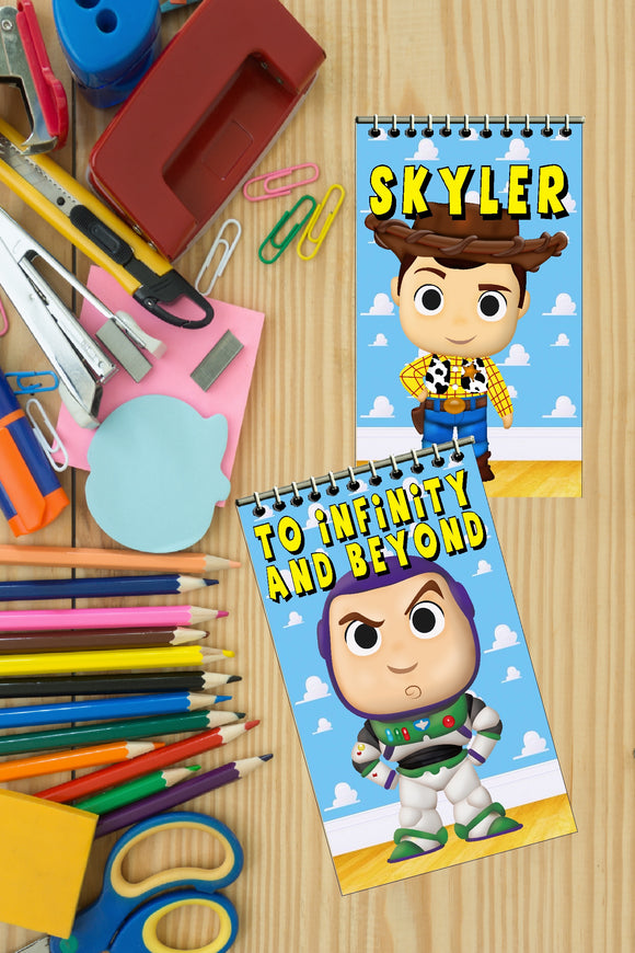 Bring Woody, Buzz and the whole gang to your Toy Story birthday party with these personalized notebooks that make great party favors for all your party guests.  Personalize each notebook with guest's name or with your child's birthday party like