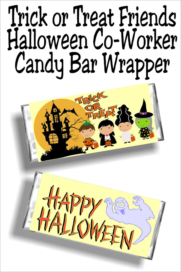 Add some friendly fun to your Halloween party with this printable trick or treat candy bar wrapper. Wrapper makes a fun Halloween card, party favor, or trick or treat candy. #halloweencandy #halloweencandybarwrapper #halloweenparty