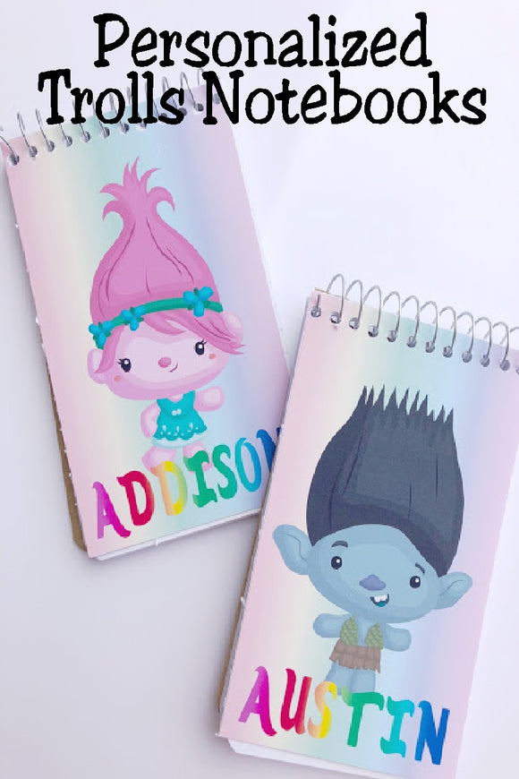 Bring the while gang to your Trolls party with these fun, personalized mini notebooks  notebooks make great party favors or treats at your party and are the perfect way to say thank you for coming