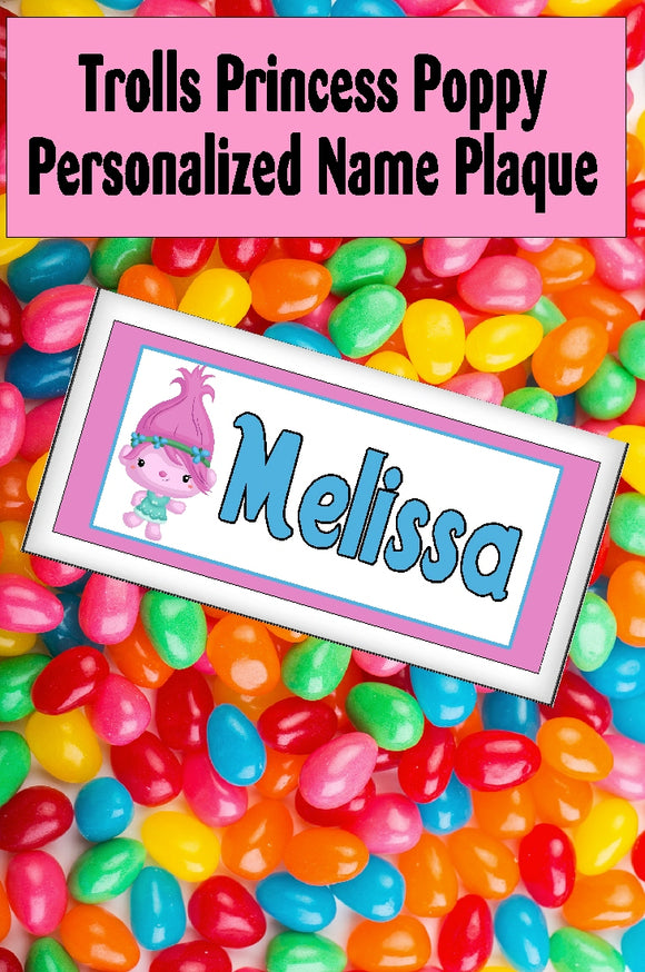 There will be sunshine and rainbows everywhere when you have this Princess Poppy personalized name plaque hanging at your Trolls birthday party or your Trolls bedroom.