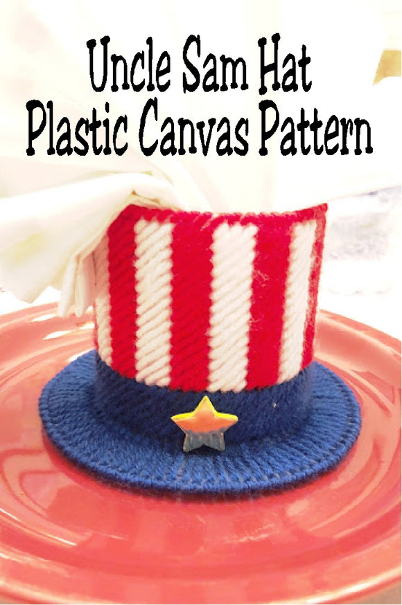 Celebrate your 4th of July with this fun Uncle Sam hat treat holder. Hat can be used as a party decoration or party favor at your Patriotic party.