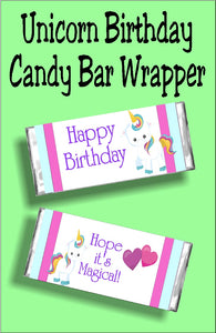 This unicorn candy bar wrapper is perfect for your Unicorn birthday party.  It makes a great card alternative or party favor for your magical birthday party.