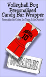 Volleyball BOY Personalized Candy Bar Wrapper