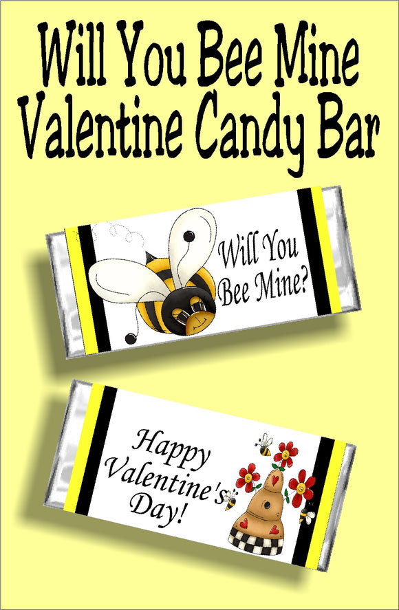 Let someone special know you want them to Bee yours this Valentine's day with this printable candy bar wrapper. This chocolate treat makes a great valentine card and gift in one and is perfect for class Valentines, friend valentines, and to give to that someone special.