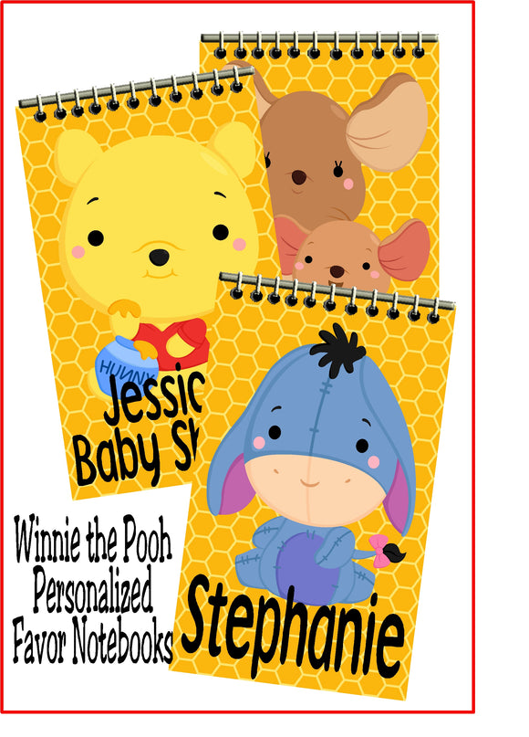 Bring a little bit of fun to your Winnie the Pooh birthday party or baby shower with these personalized notebook party favors.