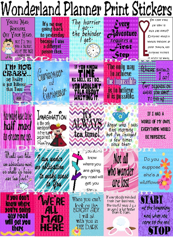 Plan out your week with these Alice in Wonderland planner sticker printables.  #plannerstickers #printableplanner #aliceinwonderland #wonderlandquotes