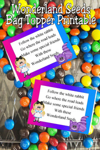 Enjoy a little bit of Wonderland with these bag toppers at your next Alice in Wonderland party. These Wonderland seeds are great party favors or party treats with their fun poem and cute clip art.  #wonderlandparty #aliceinwonderland #wonderlandbirthday #bagtopper