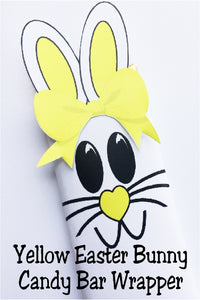 Celebrate Easter with some one you love by giving them this cute yellow Easter bunny candy bar.  This candy bar is the perfect addition to an Easter basket or class party.