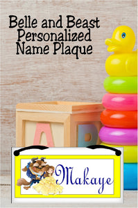 Belle and Beast Personalized Name Plaque