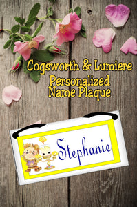 Cogsworth and Lumiere Personalized Name Plaque