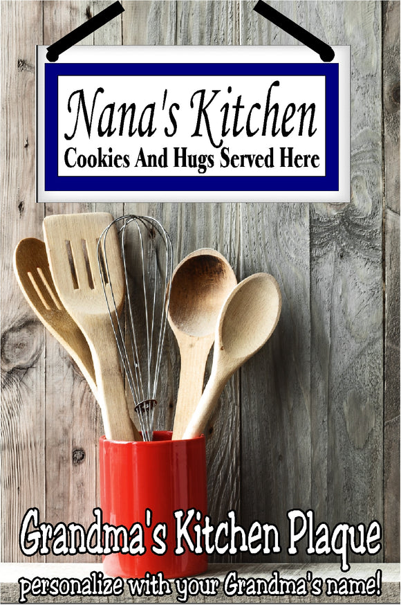 Whether it be Grandma, GG, Granny or some other name, Grandma's kitchen is her domain to hand out cookies and hugs as she pleases.  Be sure to post that where all can see with this personalized name plaque perfect for her kitchen decor. #grandmagifts #christmasgift #newbabygift #kitchendecor #personalizedgift