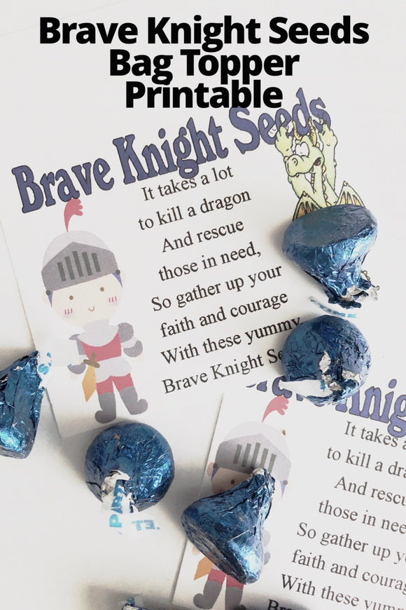 This bag topper is perfect for your princess or knight party.  Little boys will love slaying the dragon and saving the day.  Printable is available for immediate download for last minute birthday party favors.