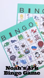 Add this fun Bingo party printable to your Noah's Ark birthday party or Noah's Ark babyshower.  Bingo game has 30 printable cards, which come in a JPG file for you to print out 2 to a page.  Simply print out cards and cut them out to enjoy game. #noahsark #bingogame