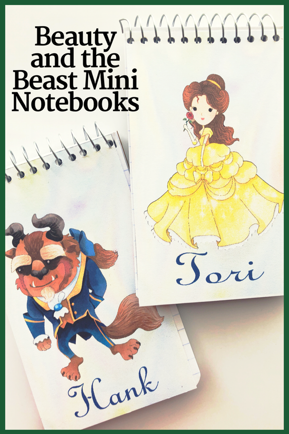 Bring the while gang to your Beauty and the Beast party with these fun, personalized mini notebooks  notebooks make great party favors or treats at your party and are the perfect way to say thank you for coming