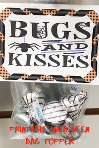 What's Halloween without bugs and kisses? Celebrate Halloween with this fun printable bag topper perfect for classroom parties, trick or treaters, and Halloween party favors.